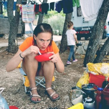 mother and kid camping concept