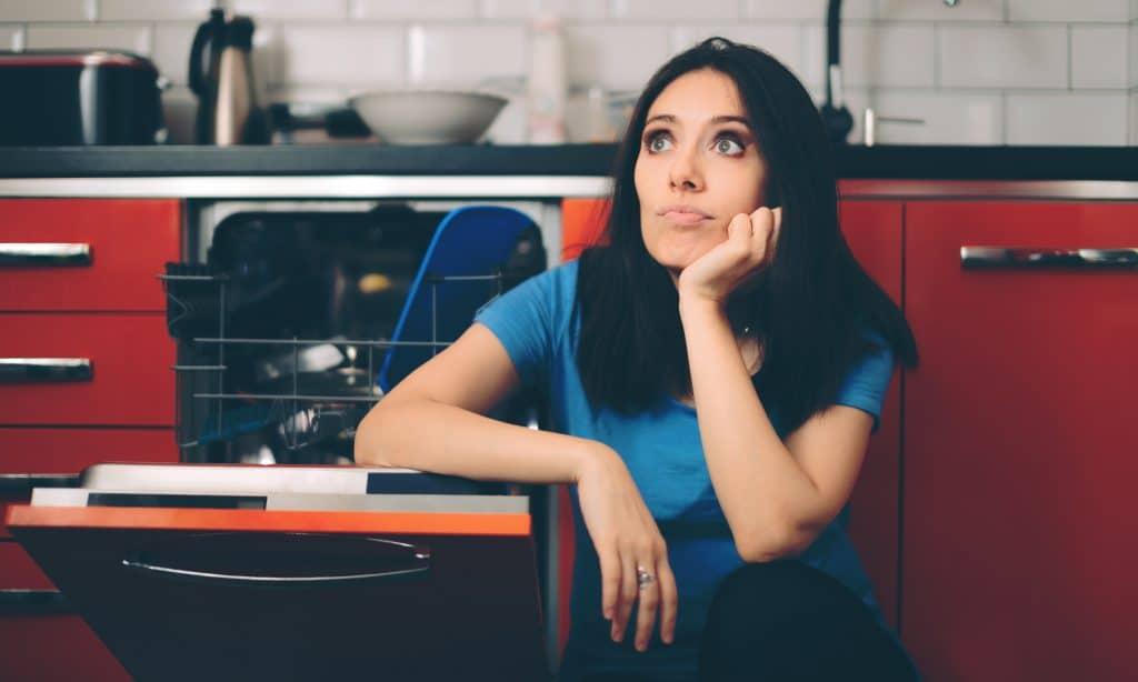annoyed woman in kitchen