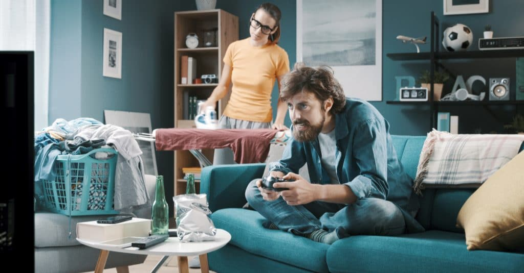 father play videogame mother angry