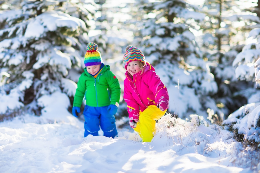 Children,Play,In,Snowy,Forest.,Toddler,Kids,Outdoors,In,Winter.