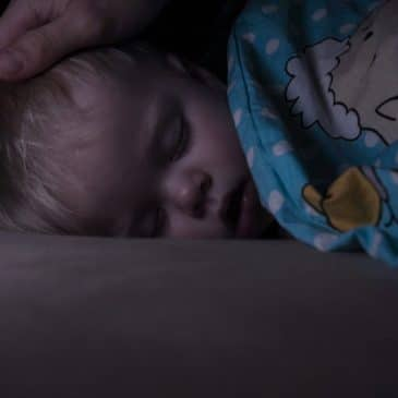 Little,Baby,Boy,Sweetly,Sleeps,In,Bed,,Dad,Puts,His
