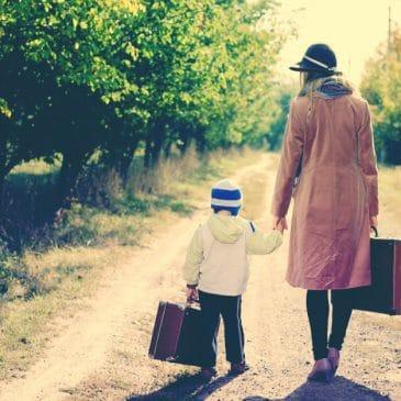 mother kid luggage